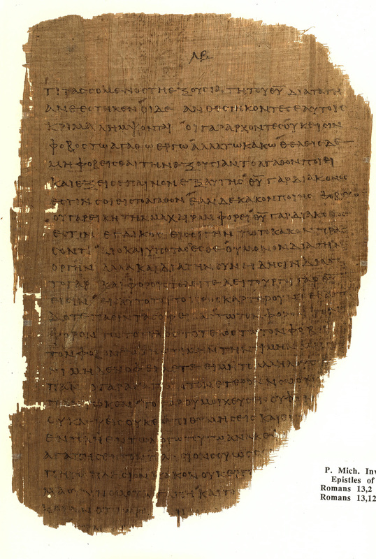 Epistle to the Romans<br />St. Paul, Romans, 13:2-13:11.<br />Egypt, late second-fourth century CE.