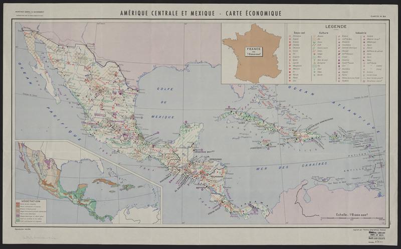 Amerique Centrale et Mexique, carte economique