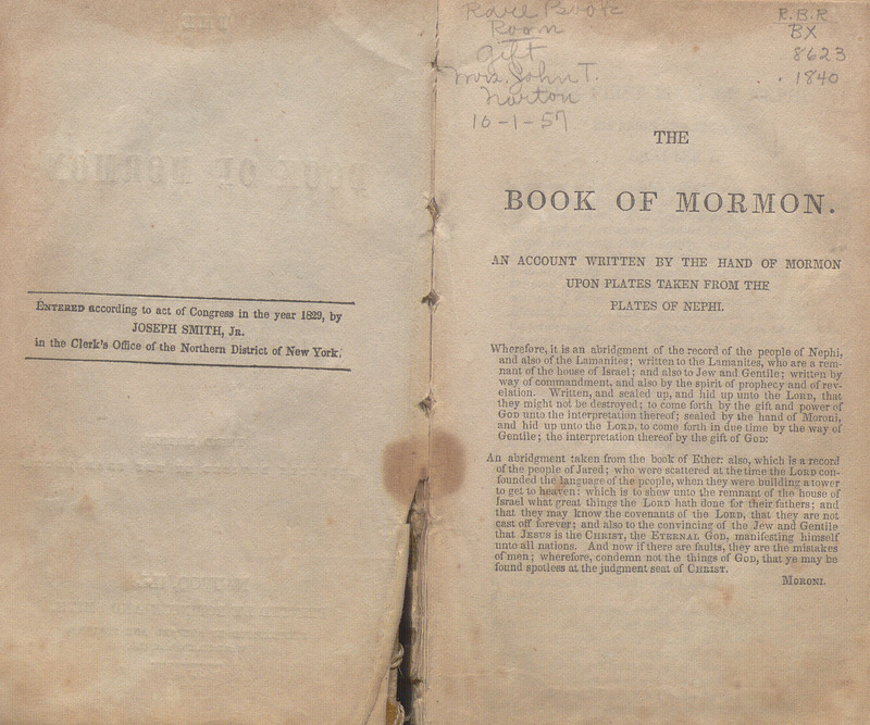 Verso of title page (copyright statement) and first page of the text of the third edition of The Book of Mormon