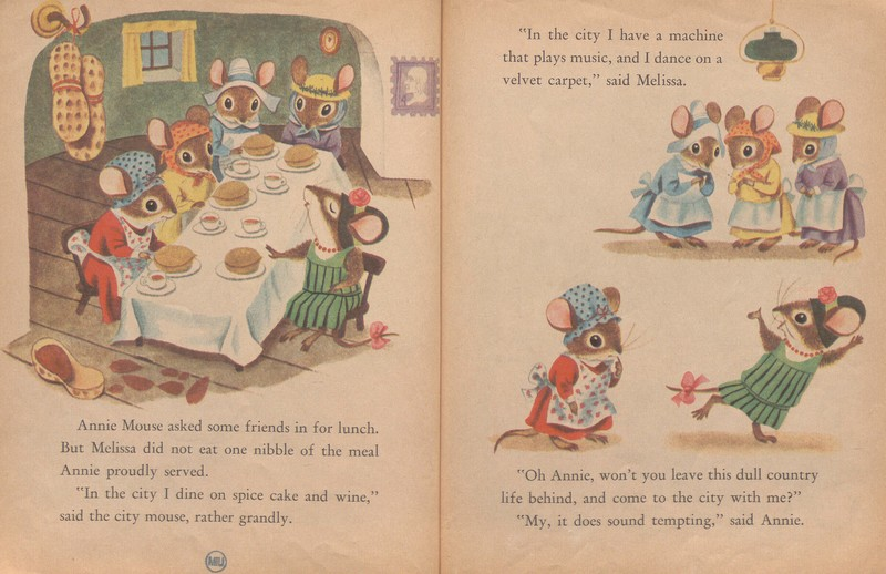 Pagespread showing Annie Mouse's luncheon party in  The Country Mouse and the City Mouse: Three Aesop's Fables