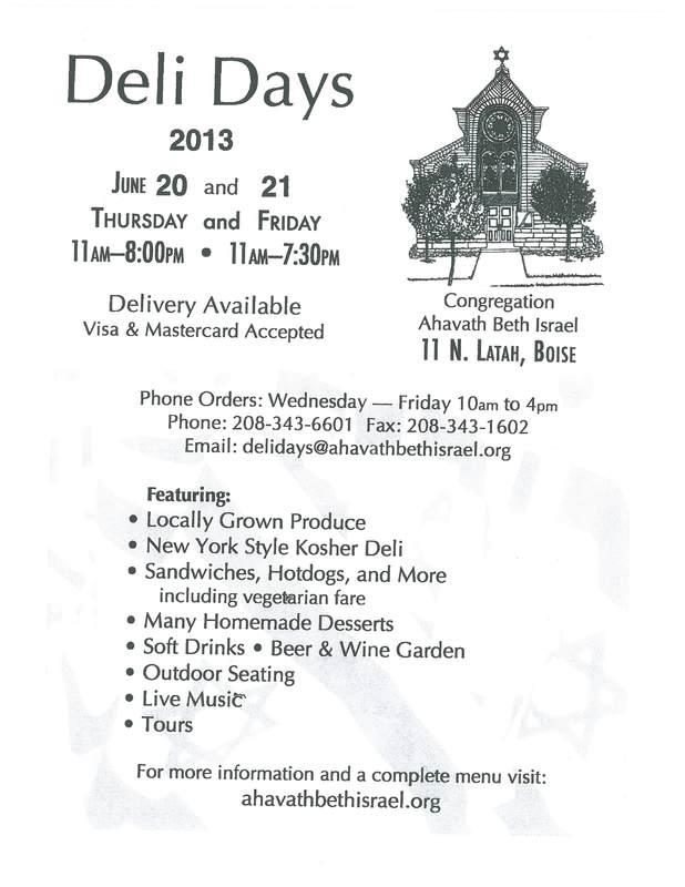 Deli Days:  Idaho Jewish Cultural Festival