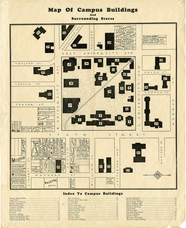 Map of Campus Buildings and Surrounding Stores