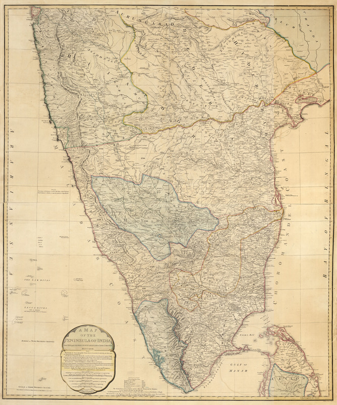 A map of the peninsula of India : from the 19th degree north latitude to Cape Comorin