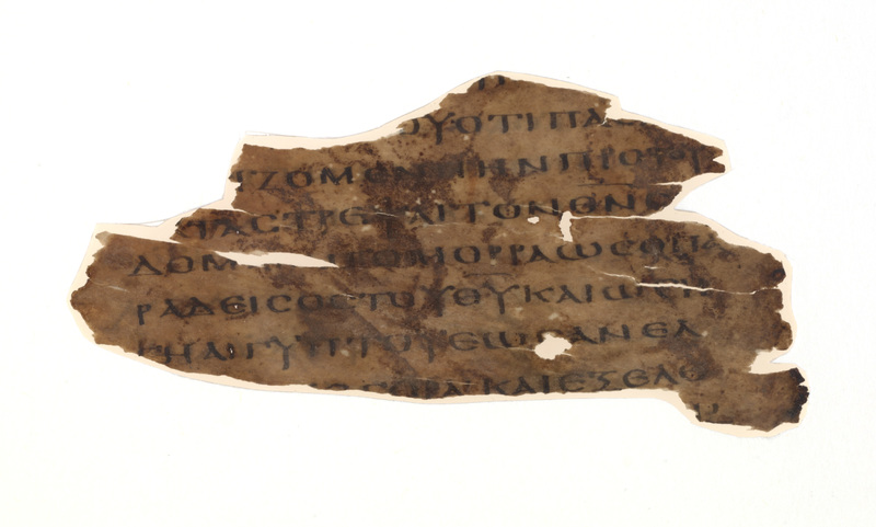 <span>Verso of parchment fragment containing Genesis 13:10</span><br /><span>Egypt, fourth century CE.</span>