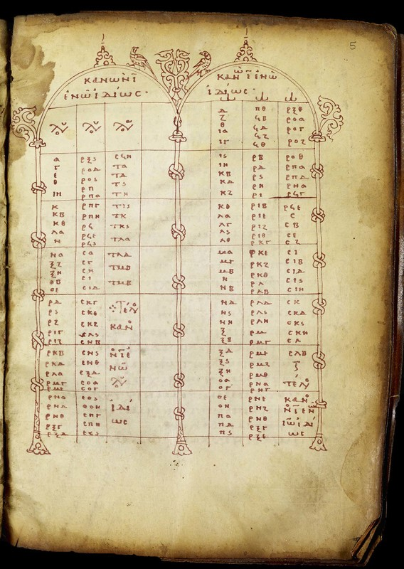 Fol. 5r. Canon Table X, from a Book of Gospels<br />Greece, end of tenth-beginning of eleventh century; miniatures: beginning of twelfth century