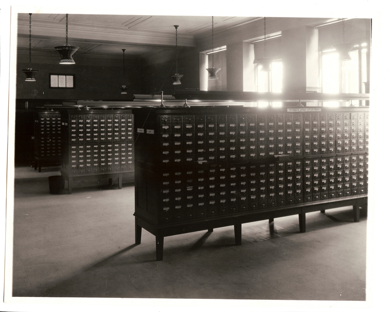 General Library Catalog Cases, Circulation Corridor, June 1927