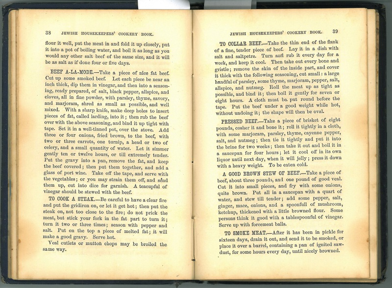 Jewish Cookery Book or Principles of Economy Adapted for Jewish Housekeepers