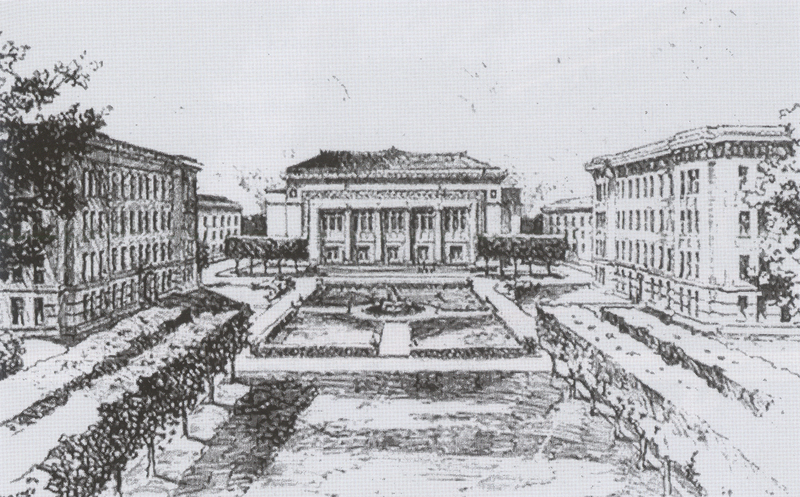 Sketch of Dean Lorch's proposal for Hill Auditorium
