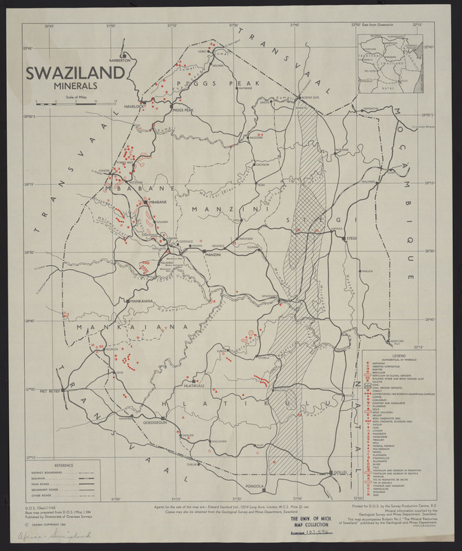 Swaziland: Minerals by Directorate of Overseas Surveys