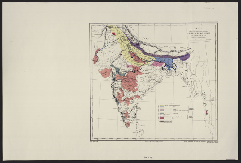 Map showing the localities of the principal mineral and vegetable products of India and the course of the trunk railways