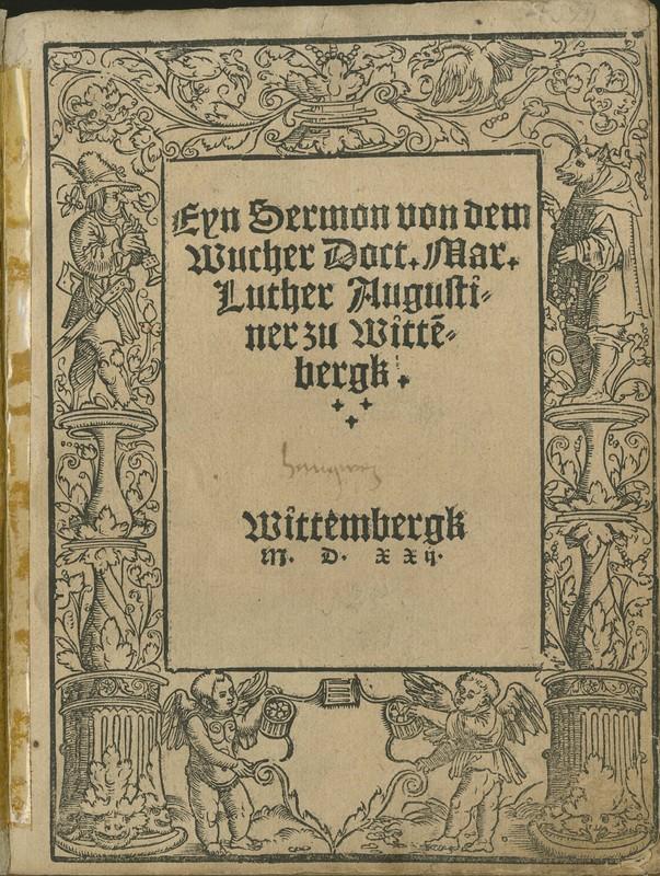 Eyn sermon von dem Wucher