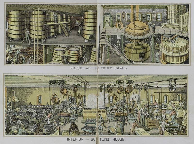 "The Bergner & Engel Brewing Co., Philadelphia. (""Interior -- Ale and Porter Brewery,"" ""Interior -- Bottling House"")"