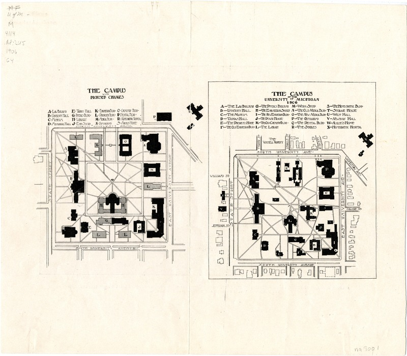General building plan for the University of Michigan : The campus with proposed changes ; The campus of the University of Michigan, 1906