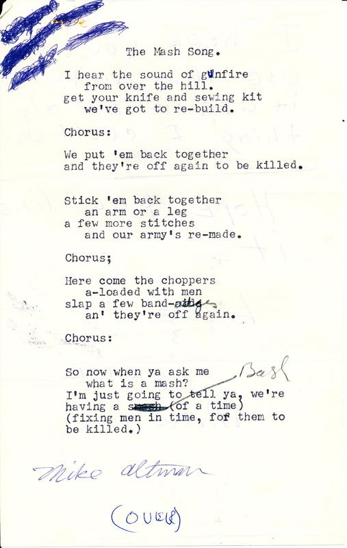 Typescript document, draft lyrics to