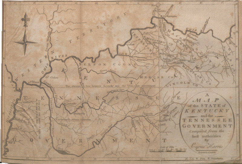 "Map entitled ""A Map of the State of Kentucky and the Tennessee Government..."" from Travels on an Inland Voyage Through the States of New York, Pennsylvania, Virginia, Ohio, Kentucky, and Tennessee, and Through the Territories of Indiana, Louisiana, Mississippi, and New-Orleans, Performed in the Years 1807 and 1808; Including a Tour of Nearly Six Thousand Miles ..."