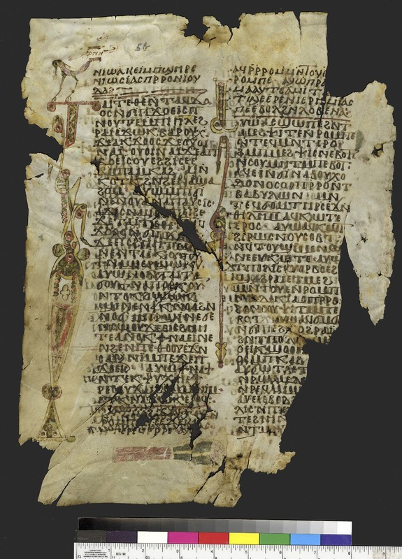 <span>Mich. Ms. 158.5</span><br /><span>Book of Jeremiah. Sahidic Dialect. Verso. Parchment. </span><span>White Monastery, Sohag (Egypt). Fragments of the same manuscript are kept in London, Manchester, Paris, and Vienna. ca. 10th century. Parchment; 36.5 x 27.8 cm.  </span>
