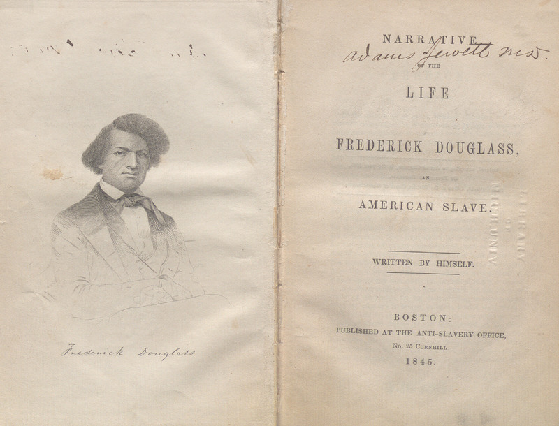Title page and frontispiece of Narrative of the Life of Frederick Douglass, an American Slave