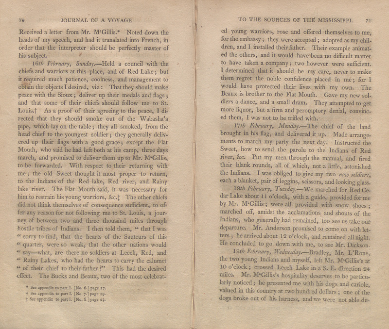 Pages 70-71 of An Account of Expeditions to the Sources of the Mississippi, and Through the Western Parts of Louisiana, to the Sources of the Arkansaw, Kans, La Platte, and Pierre Jaun, Rivers; Performed by Order of the Government of the United States During the Years 1805, 1806, and 1807. And a Tour Through the Interior Parts of New Spain, when Conducted Through These Provinces, by Order of the Captain-General, in the Year 1807