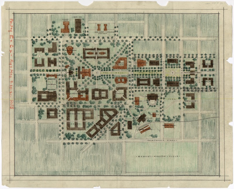 "Smaller of two maps showing proposed ""Burton"" campus development plan"