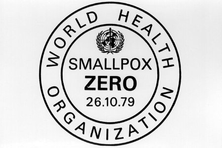 WHO logo certifying global eradication