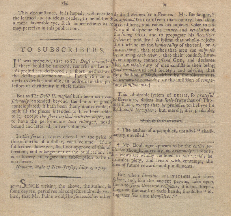 Pages viii and ix of Antidote to Deism. The Deist Unmasked; or, An Ample Refutation of All the Objections of Thomas Paine, Against the Christian Religion; as Contained in a Pamphlet, Intitled, The Age of Reason; Addressed to the Citizens of These States