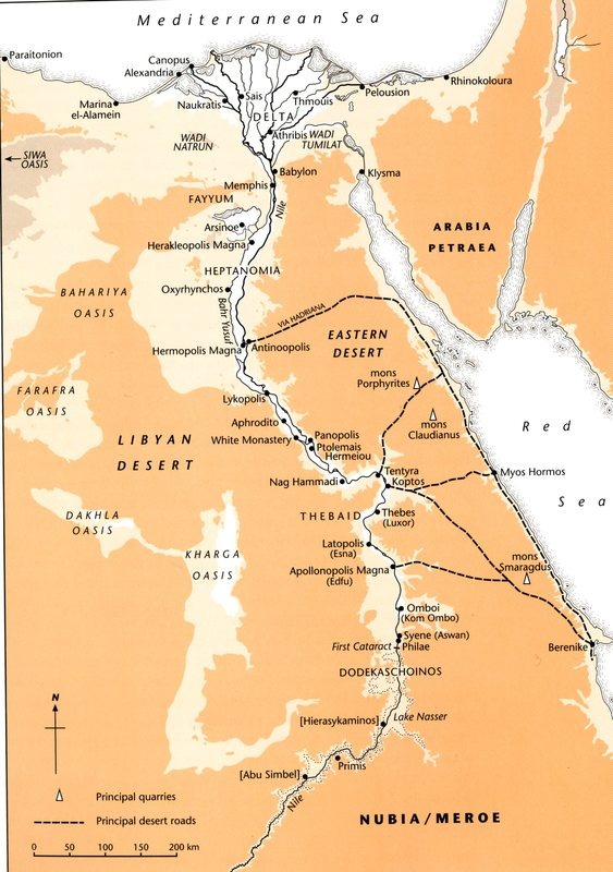 Map of Egypt, from Egypt: From Alexander to the Copts: An Archaelogical and Historical Guide.Ed. Bagnall, Roger S. & Dominic W. Rathbone. London: The British Museum Press, 2004, 20.