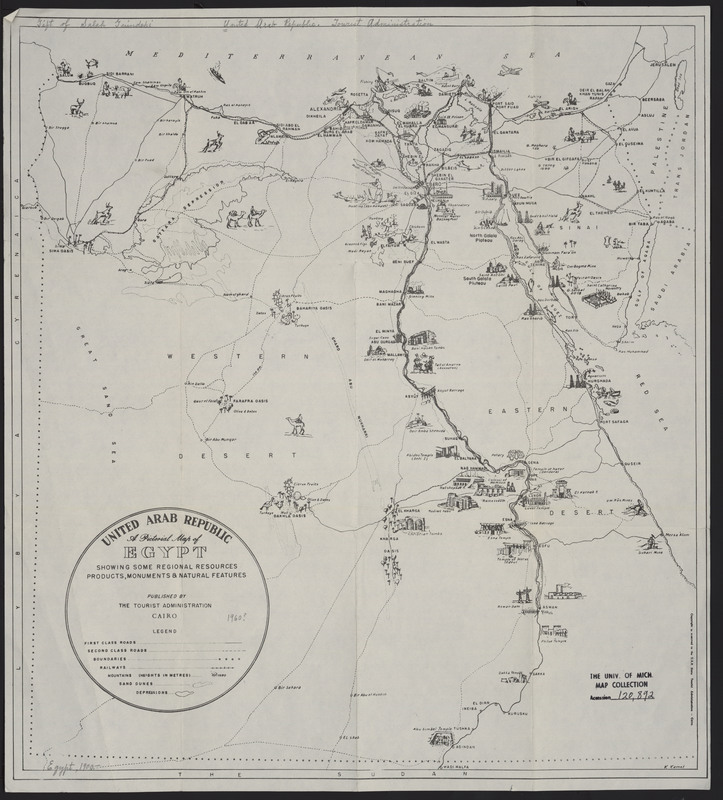 A pictorial map of Egypt showing some regional resources, products, monuments & national features