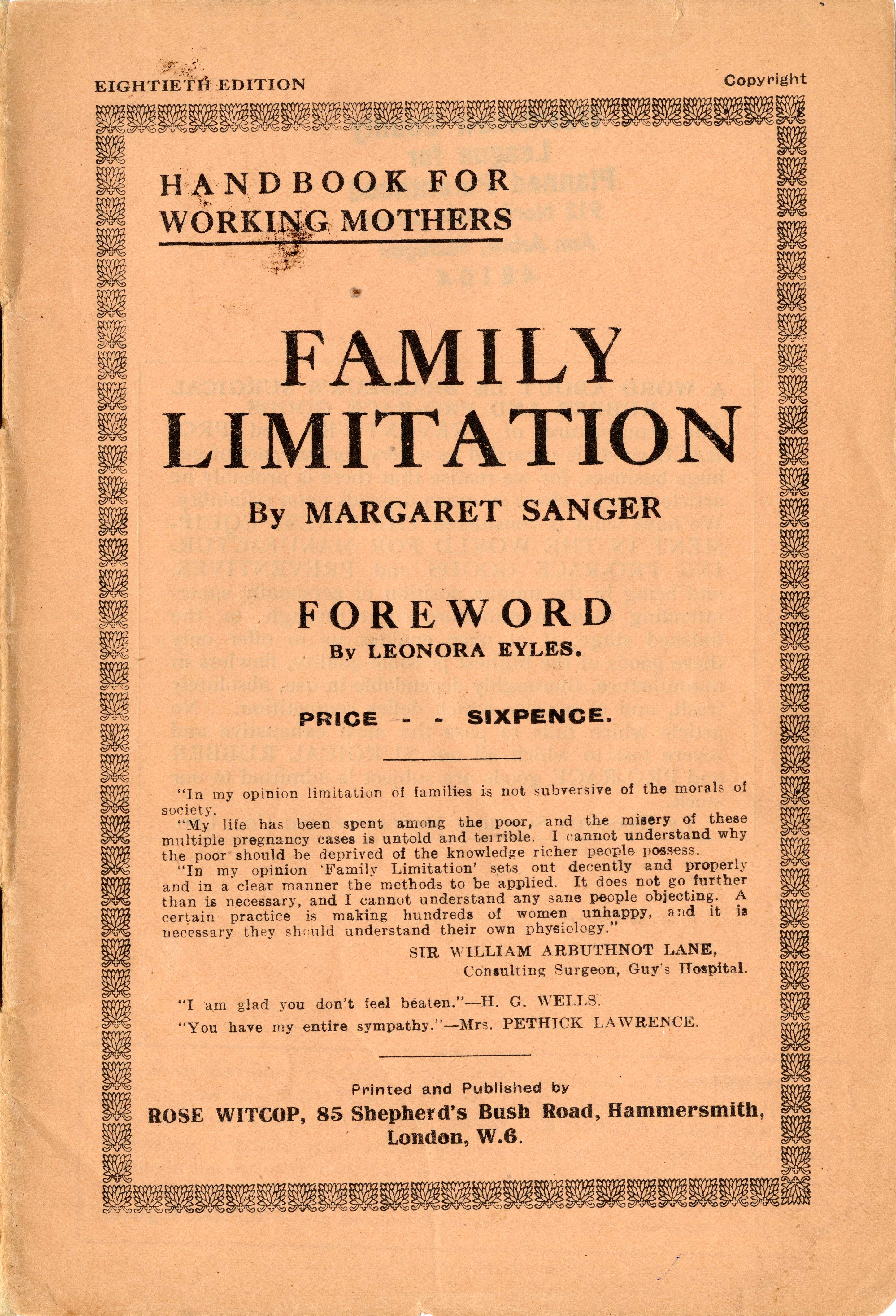 Family Limitation Online Exhibits Mlibrary