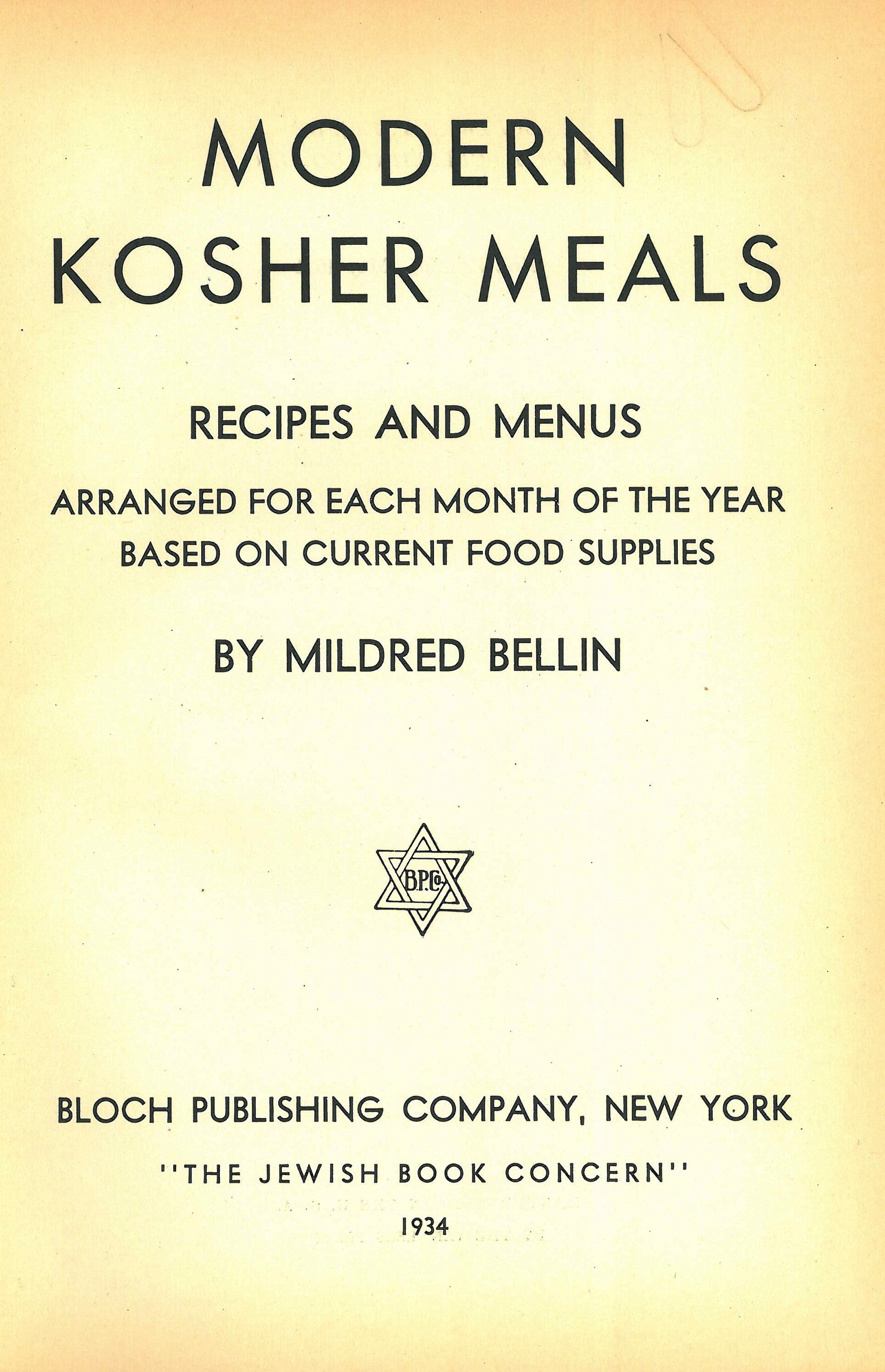 Kosher Meals: Recipes and Menus arranged for each month of the year ...