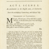 """The plays of William Shakespeare... (1765); """"The Life of King Henry V, Act 1 Scene 1"""""""
