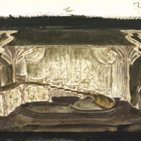 [Set design for Cymbeline in watercolor]