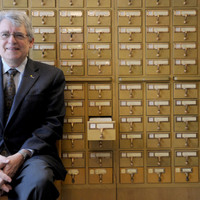 Paul Courant, the Dean of Libraries, at front of the Card Catalog image 1