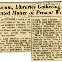 Museums, Libraries Gathering Printed Matter of Present War