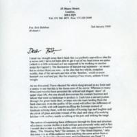 Letter from Julian Fellowes to Robert Balaban, 2000.