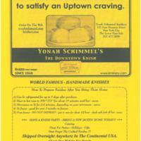 Yonah Schimmel's Knishery menu