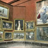 Art gallery of museum, paintings on wall