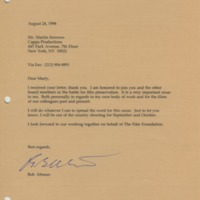 Letter from Robert Altman to Martin Scorsese, 1998.