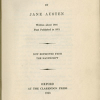 Lady Susan, by Jane Austen; written about 1805, first published in 1871, now reprinted from the manuscript