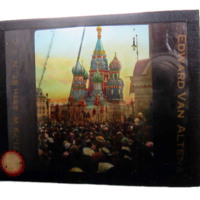 Lantern slide of St. Basil's Cathedral in Moscow