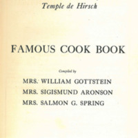The Ladies Auxiliary to Temple de Hirsch, Famous Cook Book