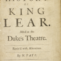 The history of King Lear... ;  [title page]