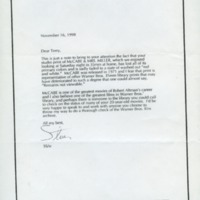 Letter from Steven Spielberg to Terry Semel (Warner Brothers), 1998.