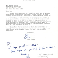 Letter from  Rep. John Tanner to Robert Altman, 1988.