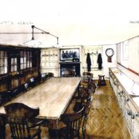 Sketch for set in Gosford Park, 2000.