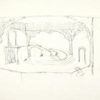 Sketch of set design for Cymbeline