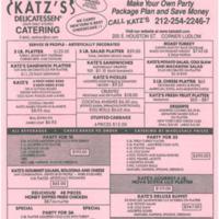 Katz's Delicatessen Menu