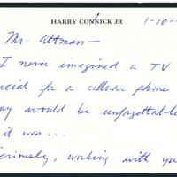 Letter from Harry Connick Jr. to Robert Altman, 2005.