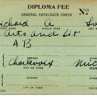 Richard Loeb: Diploma Fee Card