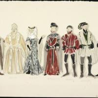[Ensemble costume sketch for Richard II, Act I Scene I]