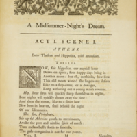 """The works of Shakespear... (1723); """"A Midsummer Night's Dream Act 1 Scene 1"""""""